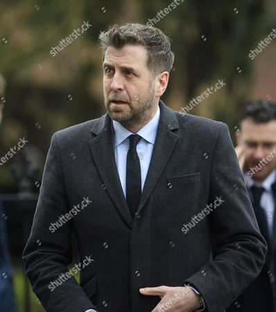 Commentator Mark Chapman attends The funeral of former England football team manager Graham Taylor