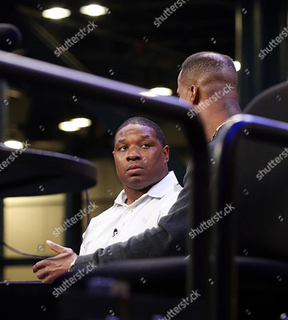 Former NFL running back Maurice Jones-Drew at Super Bowl 51 Radio Row at the George R. Brown Convention Center in Houston, TX