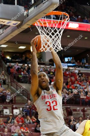 Ohio State's Trevor Thompson plays against Maryland during an NCAA college basketball game, in Columbus, Ohio. Maryland beat Ohio State 77-71