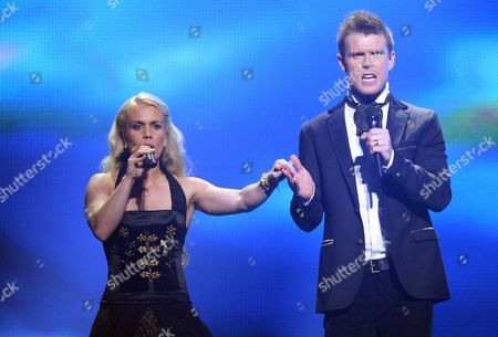 Greta Salome and Jonsi Representing Iceland Perform During the 1st Rehearsal For the 1st Semi-final of the Eurovision Song Contest 2012 in Baku Azerbaijan 21 May 2012 the Final of the 57th Eurovision Song Contest Takes Place on 26 May 2012 Azerbaijan Baku