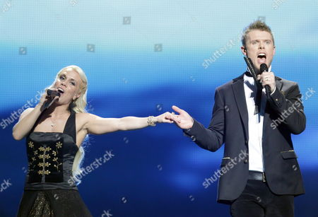 Greta Salome and Jonsi Representing Iceland Perform During the First Semi-final of the Eurovision Song Contest 2012 in Baku Azerbaijan 22 May 2012 the Final of the 57th Eurovision Song Contest Takes Place on 26 May 2012 Azerbaijan Baku