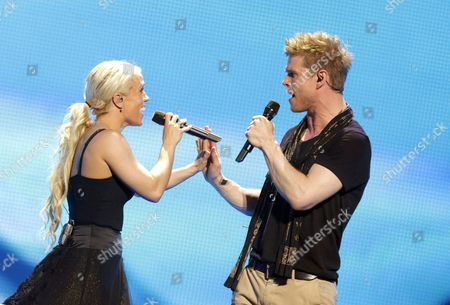 Greta Salome and Jonsi Representing Iceland Perform During the 1st Rehearsal For the Grand Final of the Eurovision Song Contest 2012 in Baku Azerbaijan 25 May 2012 the Final of the 57th Eurovision Song Contest Takes Place on 26 May 2012 Azerbaijan Baku