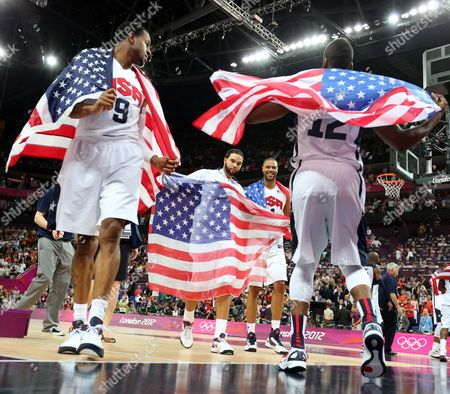 Andre Iguodala; Deron Williams; Tyson Chandler and James Harden (l-r) of the United States Celebrate After Winning the Basketball Final Game Against Spain in North Greenwich Arena at the London 2012 Olympic Games London Great Britain 12 August 2012 United Kingdom London