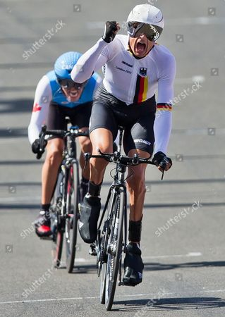 Michael Teuber of Germany Celebrates While Crossing the Finish Line to Win the Gold Medal in the Men's Individual C1 Time Trial of the Cycling Road Competitions at Brands Hatch During the London 2012 Paralympic Games in London Britain 05 September 2012 United Kingdom London