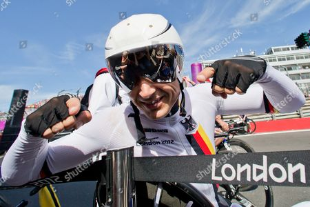 Michael Teuber of Germany Jokes Before the Men's Individual C1 Time Trial of the Cycling Road Competitions at Brands Hatch During the London 2012 Paralympic Games in London Britain 05 September 2012 Teuber Won the Gold Medal United Kingdom London