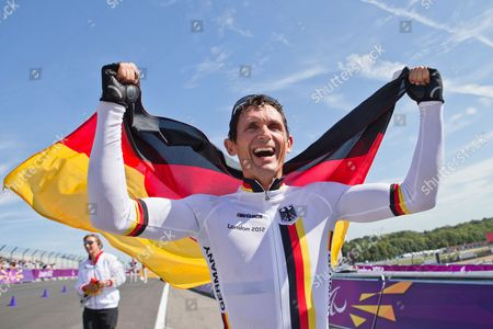 Michael Teuber of Germany Celebrates After Winning the Gold Medal in the Men's Individual C1 Time Trial of the Cycling Road Competitions at Brands Hatch During the London 2012 Paralympic Games in London Britain 05 September 2012 United Kingdom London