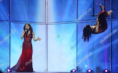 Dilara Kazimova Representing Azerbaijan During Grand Final of the 59th Annual Eurovision Song Contest (esc) at the B&w Hallerne in Copenhagen Denmark 10 May 2014 Sixteen Countries Are Competing in the Grand Finale Denmark Copenhagen