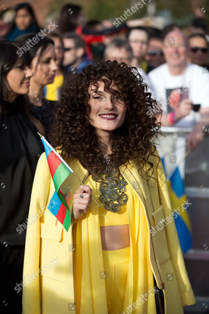 Singer Dilara Kazimova Representing Azerbaijan Arrives For the Opening Ceremony of the 59th Annual Eurovision Song Contest in Copenhagen Denmark 04 May 2014 the Two Semi-finals Will Take Place on 06 and 08 May the Grand Final on 10 May Denmark Copenhagen