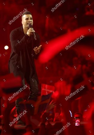Andras Kallay-saunders Representing Hungary Performs During Grand Final of the 59th Annual Eurovision Song Contest (esc) at the B&w Hallerne in Copenhagen Denmark 10 May 2014 Sixteen Countries Are Competing in the Grand Finale Epa/joerg Carstensen Denmark Copenhagen