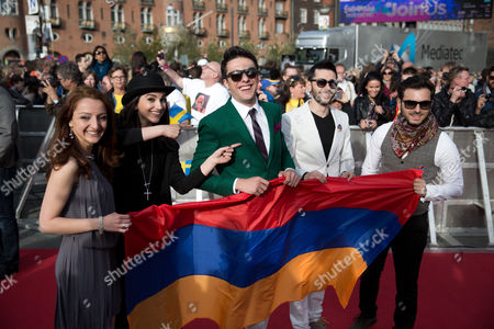 Members of the Band Aram Mp3 Representing Armenia Arrive For the Opening Ceremony of the 59th Annual Eurovision Song Contest in Copenhagen Denmark 04 May 2014 the Two Semi-finals Will Take Place on 06 and 08 May the Grand Final on 10 May Denmark Copenhagen