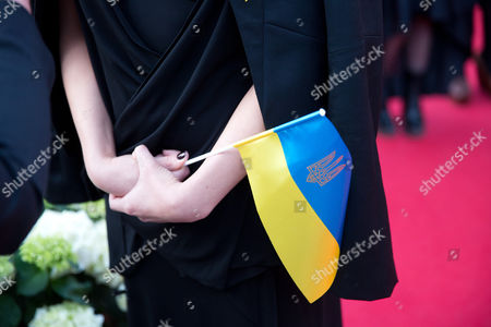 Singer Mariya Yaremchuk Representing Ukraine Holds a Small Ukrainian Flag While Arriving For the Opening Ceremony of the 59th Annual Eurovision Song Contest in Copenhagen Denmark 04 May 2014 the Two Semi-finals Will Take Place on 06 and 08 May the Grand Final on 10 May Denmark Copenhagen