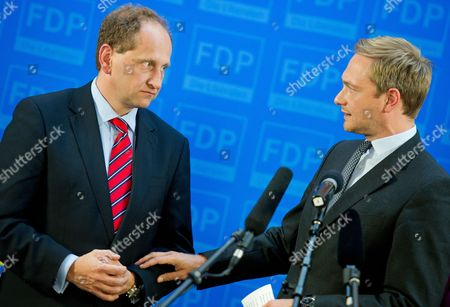 Germany's Free Liberals (fdp) Chairman Christian Lindner (r) and Top Fdp Candidate Alexander Graf Lambsdorff React After the First Projections Were Announced in the Eu Parliamentary Elections at Party Headquarters Ináberlin ágermany 25 May 2014 the European Elections Will Form a New European Parliament Whose 751 Members Will Help Set Laws in the European Union For Five Years to Come About 400 Million People in the 28-country Bloc Are Eligible to Vote Germany Berlin