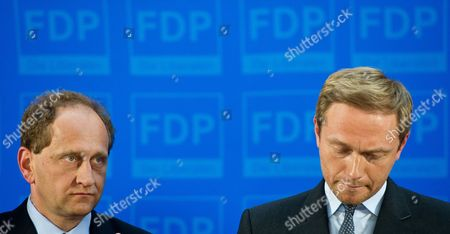 Germay's Free Liberals (fdp) Chairman Christian Lindner (r) and Top Fdp Candidate Alexander Graf Lambsdorff React After the First Projections Were Announced in the Eu Parliamentary Elections at Party Headquarters Ináberlin ágermany 25 May 2014 the European Elections Will Form a New European Parliament Whose 751 Members Will Help Set Laws in the European Union For Five Years to Come About 400 Million People in the 28-country Bloc Are Eligible to Vote Germany Berlin