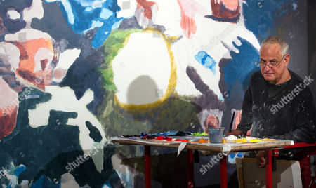Belgian Artist Luc Tuymans Works on the Wall Painting 'Technicolour' at the Schauspielhaus in Dresden Germany 24 April 2013 the Two Wall Paintings 'Peaches' and 'Technicolour' by the Artist Are Given to the State Theatre For Its 100th Anniversary Germany Dresden