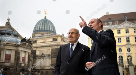 Egyptian Nobel Peace Prize Laureate Mohamed Elbaradei (l) is Greeted by Holger Treutmann (r) One of the Priests of Church of Our Lady in Front of the Church in Dresden Germany 18 March 2014 Elbaradei Visits Dresden and is Going to Deliver a Speech in the Church of Our Lady Later the Evening Germany Dresden