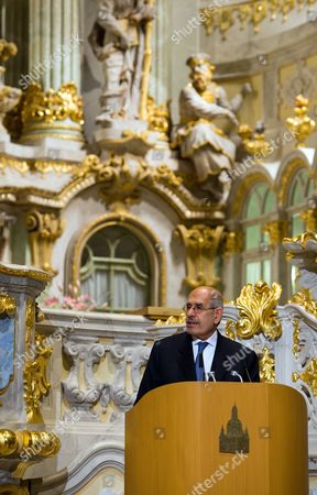 Egyptian Nobel Peace Prize Laureate Mohamed Elbaradei Delivers a Speech in the Church of Our Lady Inádresden Germany 18 March 2014 His Speech Forms Part of the Cycle 'Nobel Peace Laureates in the Church of Our Lady' Germany Dresden