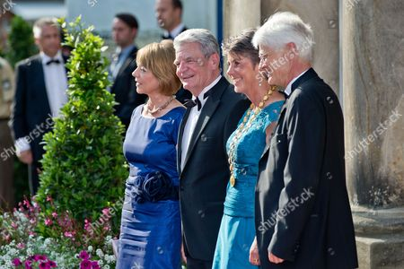 German Federal President Joachim Gauck (2-l) His Partner Daniela Schadt (l) Brigitte Merk-erbe Mayor of Bayreuth and Her Husband Thomas Erbe (r) Upon Their Arrival at the Opening of the Bayreuth Festival 2013 in Bayreuth Germany 25 July 2013 the Annual Music Festival Will Run Until 28 August Germany Bayreuth
