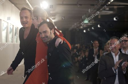 Klaus Unrath (l) and Ivan Strano (r) Receive Standing Ovations After the Unrath & Strano Show Offsite the Mercedes-benz Fashion Week in an Underground Station in Berlin Germany 20 January 2012 the Berlin Fashion Week Runs From 18 to 21 January Germany Berlin