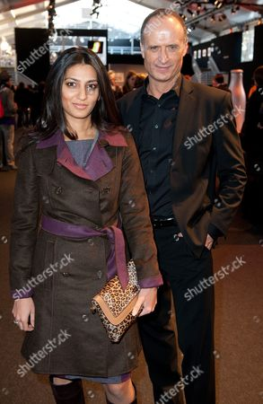 Chairman and Managing Director of the German Fashion Luxury Brand Escada Megha Mittal (l) and Escada Ceo Bruno Saelzer (r) Attend the Escada Sport Show During the Mercedes-benz Fashion Week Fall/winter 2012 in Berlin Germany 18 January 2012 the Berlin Fashion Week Runs From 18 to 21 January Germany Berlin