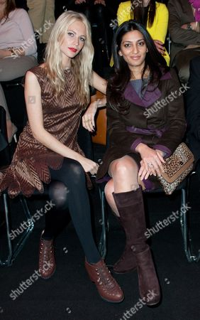 British Socialite Poppy Delevingne (l) and Chairman and Managing Director of the German Fashion Luxury Brand Escada Megha Mittal (r) Attend the Escada Sport Show During the Mercedes-benz Fashion Week Fall/winter 2012 in Berlin Germany 18 January 2012 the Berlin Fashion Week Runs From 18 to 21 January Germany Berlin