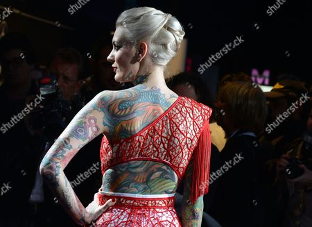 Austrian Tattoo Model Lexy Hell Arrives For the Marc Stone Show During the Mercedes-benz Fashion Week in Berlin Germany 15 January 2013 the Presentations of the Fall-winter 2013/2014 Collections Takes Place at the Mercedes-benz Fashion Week Berlin From 15 to 18 January Germany Berlin
