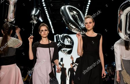 Stock Image of Models Present Creations by German Label Anne Gorke During the Mercedes-benz Fashion Week in Berlin Germany 17 January 2014 Fall-winter 2014/15 Collections Are Presented at the Event From 14 to 17 January Germany Berlin