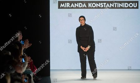 Greek Fashion Designer Miranda Konstantinidou Bows After the Show of Her Label Miranda Konstantinidou During the Mercedes-benz Fashion Week in Berlin Germany 17 January 2014 Fall-winter 2014/15 Collections Are Presented at the Event From 14 to 17 January Germany Berlin