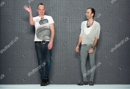 Designers Klaus Unrath (l) and Ivan Strano Appear on Stage After the Unrath and Strano Show During the Mercedes-benz Fashion Week in Berlin Germany 05 July 2012 the Presentation of the Spring/summer 2013 Collections Takes Place From 04 to 07 July 2012 Germany Berlin