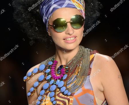 A Model Presents a Creation by Greek Designer Miranda Konstantinidou During the Mercedes-benzáfashion Week in Berlin ágermany 11 July 2014 the Presentation of the Spring/summer 2015 Collections Runs From 08 to 11 July Germany Berlin