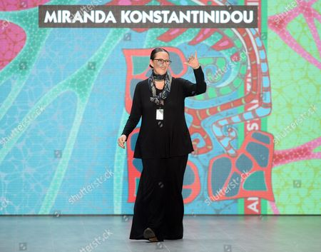 Greek Designer Miranda Konstantinidou Waves to Guests After Presenting Her Collection During the Mercedes-benzáfashion Week in Berlin ágermany 11 July 2014 the Presentation of the Spring/summer 2015 Collections Runs From 08 to 11 July Germany Berlin