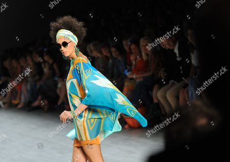 Stock Photo of A Model Presents a Creation by Greek Designer Miranda Konstantinidou During the Mercedes-benzáfashion Week in Berlin ágermany 11 July 2014 the Presentation of the Spring/summer 2015 Collections Runs From 08 to 11 July Germany Berlin