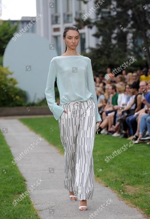 A Model Presents a Creation by German Designers Johanna Perret and Tutia Schaad For Their Label Perret Schaad at an Offsite Show During the Mercedes Benz Fashion Week in Berlin Germany 10ájuly 2014 áthe Fashion Show Features the Spring/summer Collections 2015 and Will Run From 08 to 11 July Germany Berlin