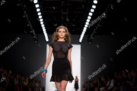 Stock Picture of A Model Presents a Creation From the Spring/summer 2015 Collection by Greek Designer Dimitrios Panagiotopoulos For His Label Dimitri at the Mercedes-benzáfashion Week in Berlin ágermany 10 July 2014 the Event Runs From 08 to 11 July Germany Berlin