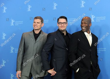 (l-r) German Actor Goetz Otto Finnish Director Timo Vuorensola and Us Actor Christopher Kirby Pose During the Photocall For the Movie 'Iron Sky' During the 62nd Berlin International Film Festival in Berlin Germany 11 February 2012 the Movie is Presented in the Section Panorama Special at the 62nd Berlinale Running From 09 to 19 February Germany Berlin