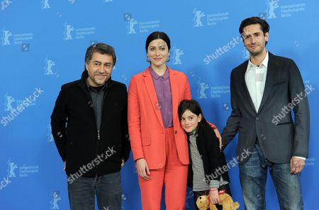 (l-r) Spanish Director Antonio Chavarrias Actress Barbara Lennie Actress Magica Perez and Actor Juan Diego Botto Pose During the Photocall For the Movie 'Childish Games' ('dictado') During the 62nd Berlin International Film Festival in Berlin Germany 11 February 2012 the Movie is Presented in the Section Berlinale Special at the 62nd Berlinale Running From 09 to 19 February Germany Berlin