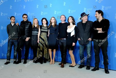 Stock Picture of (l-r) Bosnian Actors Boris Ler Branko Djuric Bosnian Actresses Alma Terzic Vanessa Glodjo Us Actress and Director Angelina Jolie Bosnian Serb Actor Goran Kostic Bosnian Actress Zana Marjanovic Serbian-born Rade Serbedzija and Serbian Actor Nikola Djuricko During the Photocall For the Movie 'In the Land of Blood and Honey' During the 62nd Berlin International Film Festival in Berlin Germany 11 February 2012 the Movie is Presented in the Section Berlinale Special at the 62nd Berlinale Running From 09 to 19 February Germany Berlin
