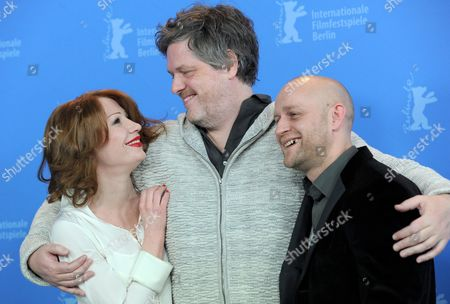 Stock Image of Austrian Actress Birgit Minichmayr (l-r) German Director Matthias Glasner and German Actor Juergen Vogel Pose at the Photocall For the Movie 'Mercy' (gnade) During the 62nd Berlin International Film Festival in Berlin Germany 16 February 2012 the Movie is Presented in the Competition at the 62nd Berlinale Running From 09 to 19 February Germany Berlin