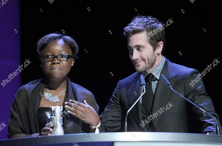 Congolese Actress Rachel Mwanza Receives the Award For Best Actress (silver Bear) For the Movie 'War Witch' ('rebelle') From Jury Member and Us Actor Jake Gyllenhaal During the Awarding Ceremony of the 62nd Berlin International Film Festival in Berlin Germany 18 February 2012 a Total of 18 Films Competing For the Berlinale's Prestigious Golden Bear For Best Picture About 400 Films Are Shown Every Year As Part of the Berlinale's Public Programme Germany Berlin