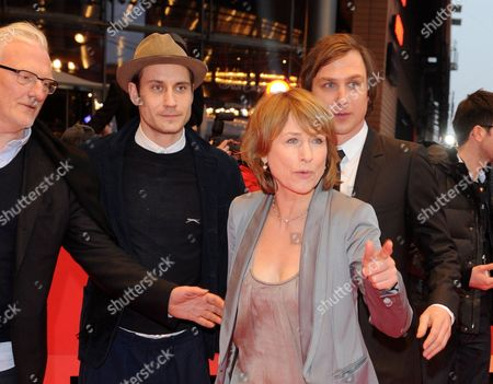 Cast Members Ernst Stoetzner (l-r) Sebastian Zimmler Corinna Harfouch and Lars Eidinger Arrive For the Premiere of 'Home For the Weekend (was Bleibt)' During the 62nd Berlin International Film Festival in Berlin Germany 14 February 2012 the Movie is Presented in Competition at the 62nd Berlinale That Runs From 09 to 19 February Germany Berlin