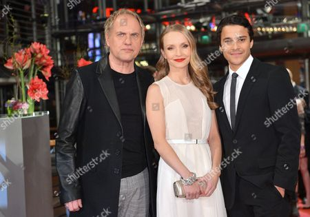 Stock Photo of German Actors Uwe Ochsenknecht (l-r) Janin Reinhardt and Kostja Ullmann Arrive For the Premiere of 'The Croods' During the 63rd Annual Berlin International Film Festival in Berlin Germany 15 February 2013 the 3d Animated Movie is Presented in Competition out of Competition at the Berlinale Running From 07 to 17 February Germany Berlin