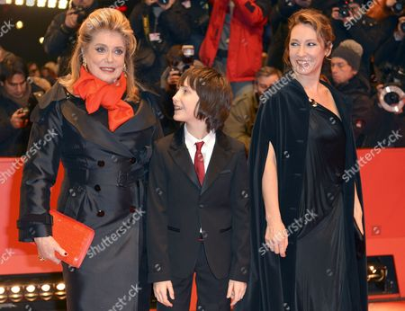 French Actress Catherine Deneuve (l) Director Emmanuelle Bercot (r) and Actor Nemo Schiffman Arrive at the Premiere For 'On My Way' ('elle S'en Va') During the 63rd Annual Berlin International Film Festival in Berlin Germany 15 February 2013 the Movie is Presented in Competition at the Berlinale Germany Berlin