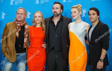 (l-r) German Actors Uwe Ochsenknecht and Janin Reinhardt Us Actors Nicolas Cage and Emma Stone and German Actor Kostja Ullmann Pose at a Photocall For 'The Croods' During the 63rd Annual Berlin International Film Festival in Berlin Germany 15 February 2013 the 3d Animated Movie is Presented in Competition out of Competition at the Berlinale Running From 07 to 17 February Germany Berlin