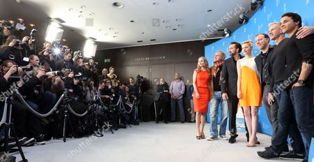 (l-r) German Actors Janin Reinhardt and Uwe Ochsenknecht Us Actors Nicolas Cage and Emma Stone Us Directors Kirk De Micco and Chris Sanders and German Actor Kostla Ullmann Pose at a Photocall For 'The Croods' During the 63rd Annual Berlin International Film Festival in Berlin Germany 15 February 2013 the 3d Animated Movie is Presented in Competition out of Competition at the Berlinale Running From 07 to 17 February Germany Berlin
