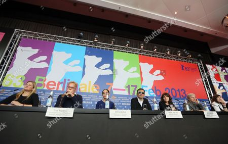 The International Jury with (l-r) Cinematographer Ellen Kuras (usa) Actor Tim Robbins (usa) Director Shirin Neshat (iran) Jury President and Director Wong Kar Wai (china /hong Kong) Director Susanne Bier (denmark) Director Andreas Dresen (germany) and Director Athina Rachel Tsangari (greece) Speak at a Press Conference During the Berlin International Film Festival Berlinale in Berlin Germany 07 February 2013 the Berlinale Runs From 07 to 17 February Germany Berlin