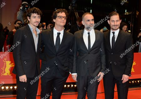 (l-r) Actors Jesuita Barbosa Wagner Moura Director Karim Ainouz and German Actor Clemens Schick Arrive For the Closing and Awards Ceremony of the 64th Annual Berlin Filmáfestival in Berlin ágermany 15 February 2014 the Berlinale Festival Runs Until 16 February Germany Berlin