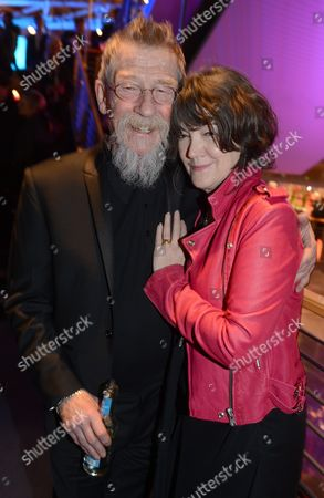 Britsh Actor John Hurt and His Wife Anwen Rees Meyers (r) Pose For Media at the Party For the Opening Film 'The Grand Budapest Hotel' During the 64th Annual Berlin Film Festival in Berlin Germany 06 February 2014 the Berlinale Festival Runs From 06 to 16 February 2014 Germany Berlin