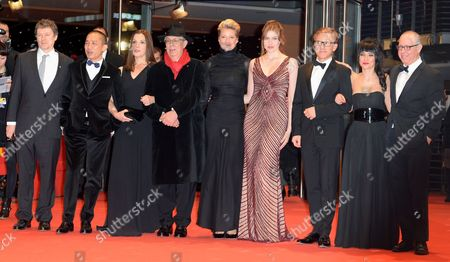 Members of the Berlinale Jury (l-r) Michael Gondry Tony Leung Barbara Brokkoli Festival Director Dieter Kosslick Trine Dyrholm Greta Gerwig Christoph Waltz Mitra Farahani and James Schamus Arrive For the Closing and Awards Ceremony of the 64th Annual Berlin Filmáfestival in Berlin ágermany 15 February 2014 the Berlinale Festival Runs Until 16 February Germany Berlin
