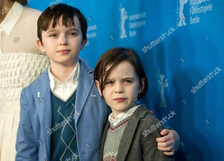 Stock Image of Child Actors Zen Mcgrath (l) and Winta Mcgrath Pose During the Photocall For 'Aloft' at the 64th Annual Berlin Film Festival in Berlin Germany 12 February 2014 the Movie is Presented in the Official Competition of the Berlinale Which Runs From 06 to 16 Febuary 2014 Germany Berlin