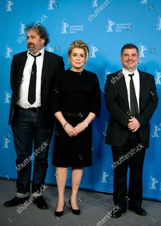 Corsica-born Director Pierre Salvadori (r) and French Actors Gustave Kervern (l) and Catherine Deneuve (c) Pose During the Photocall 'Dans La Cour (in the Courtyard)' at the 64th Annual Berlin Film Festival in Berlin Germany 11 February 2014 the Movie is Presented in the Berlinale Special Gala Section of the Festival Which Runs From 06 to 16 February 2014 Germany Berlin