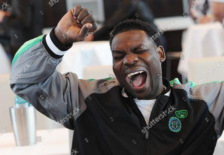 Us Heavy Weight Boxer Hasim Rahman Jokes Around Before the Start of a Press Conference in Hamburg Germany 26 September 2012 Hasim Rahman Will Fight Russian Boxer Powetkin on 29 September 2012 Germany Hamburg